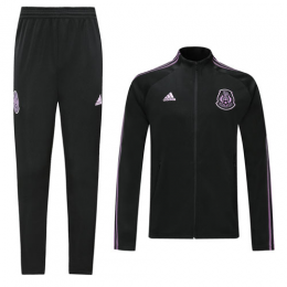 2019 Mexico Black&Purple High Neck Collar Training Kit(Jacket+Trousers)