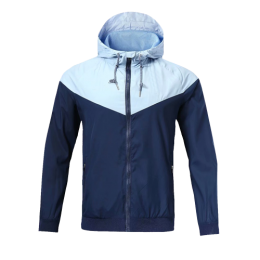 Customize Team Navy&Blue Hoodie Windrunner Jacket