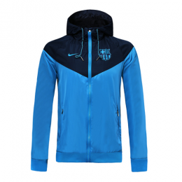 19-20 Barcelona Light Blue Hoodie Windrunner Jacket