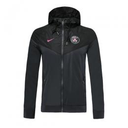19-20 PSG Black Hoodie Windrunner Jacket