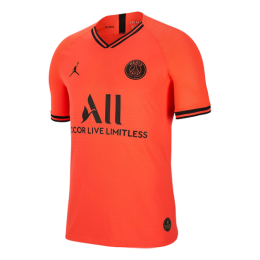19/20 PSG JORDAN Away Red&Orange Soccer Jerseys Shirt(Player Version)