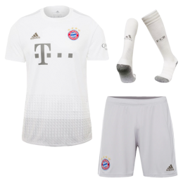19/20 Bayern Munich Away White Jerseys Whole Kit(Shirt+Short+Socks)