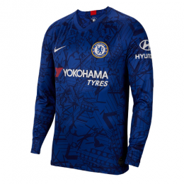 19-20 Chelsea Home Blue Long Sleeve Jerseys Shirt