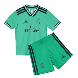 19/20 Real Madrid Third Away Green Children's Jerseys Kit(Shirt+Short)