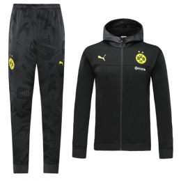19/20 Borussia Dortmund Black Hoodie Training Kit(Jacket+Trouser)