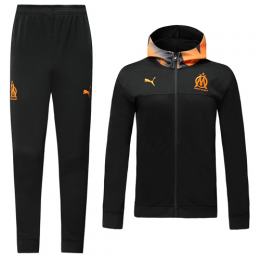 19/20 Marseilles Black Hoodie Training Kit(Jacket+Trouser)