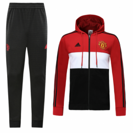 19/20 Manchester United Red&White Hoodie Training Kit(Jacket+Trouser)