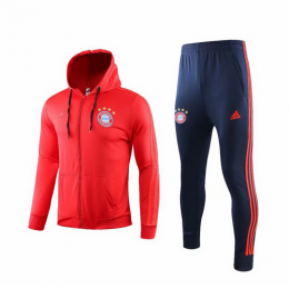19/20 Bayern Munich Light Red Hoody Training Kit(Jacket+Trouser)