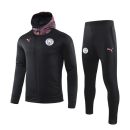 19/20 Manchester City Black Hoody Training Kit(Jacket+Trouser)