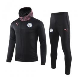 19/20 Manchester City Black Hoody Training Kit(Jacket+Trouser)