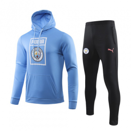 19/20 Manchester City Light Blue Hoody Sweat Shirt Kit(Top+Trouser)