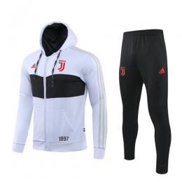 19/20 Juventus White Hoodie Training Kit(Jacket+Trouser)