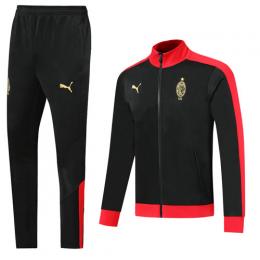 19/20 AC Milan Black High Neck Collar Training Kit(Jacket+Trouser)
