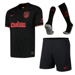 19-20 Atletico Madrid Away Black Soccer Jerseys Kit(Shirt+Short+Socks)
