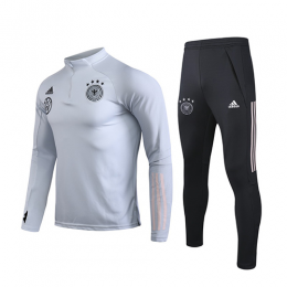 2020 Germany Light Gray Zipper Sweat Shirt Kit(Top+Trouser)