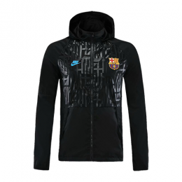 20/21 Barcelona Black Hoodie Windrunner Jacket