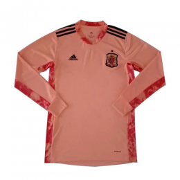 2020 Spain Goalkeeper Pink Long Sleeve Jerseys Shirt