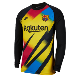 19/20 Barcelona Goalkeeper Black&Yellow Long Sleeve Jerseys Shirt