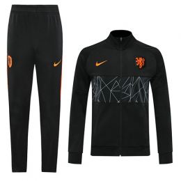2020 Netherlands Black High Neck Collar Training Kit(Jacket+Trouser)