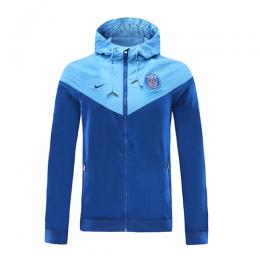 20/21 PSG Blue&Light Blue Windbreaker Hoodie Jacket