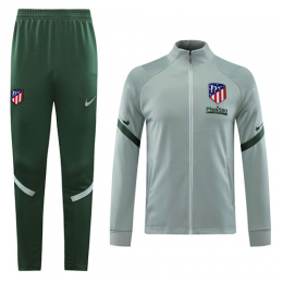 20/21 Atletico Madrid Light Gray High Neck Collar Training Kit(Jacket+Trouser)
