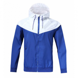 Customize Team White&Blue Windbreaker Hoodie Jacket