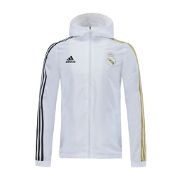 20/21 Real Madrid White Hoody Woven Windrunner