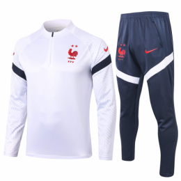 2020 France White Zipper Sweat Shirt Kit(Top+Trouser)