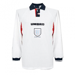 1998 World Cup England Home White Retro Long Sleeve Jerseys Shirt