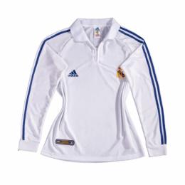 01/02 Real Madrid Home White Long Sleeve Retro Jerseys Shirt