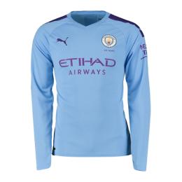 19/20 Manchester City Home Blue Long Sleeve Jerseys Shirt