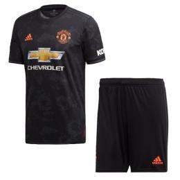 19-20 Manchester United Third Away Black Jerseys Kit(Shirt+Short)