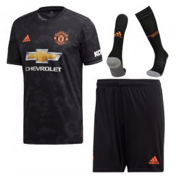 19-20 Manchester United Third Away Black Jerseys Kit(Shirt+Short+Socks)