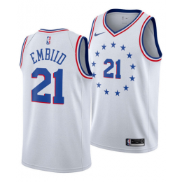 Men's Philadelphia 76ERS Joel Embiid No.21 White Swingman Jersey