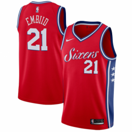 Men's Philadelphia 76ers Joel Embiid No.21 Red Swingman Jersey Statement Edition