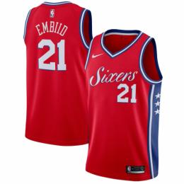 Men's Philadelphia 76ers Joel Embiid No.21 Red Swingman Jersey Statement Edition