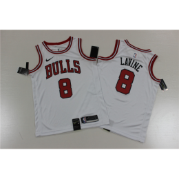 Men's Chicago Bulls Zach LaVine No.8 White Replica Swingman Jersey - Association Edition