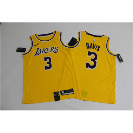Men's Los Angeles Lakers Anthony Davis No.3 Yellow 18-19 Swingman Jersey - Icon Edition