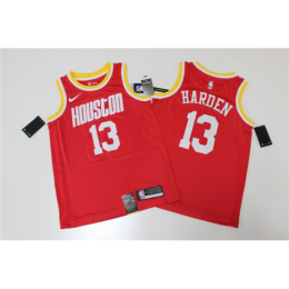 Men's Houston Rockets James Harden No.13 Red Hardwood Classics Finished Swingman Jersey