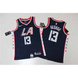 Men's LA Clippers Paul George No.13 Deap Blue Swingman Jersey - City Edition