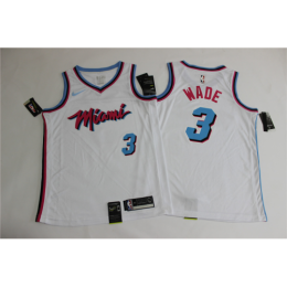 Men's Miami Heat Dwyane Wade No.3 White 19-20 Swingman Jersey - City  Edition