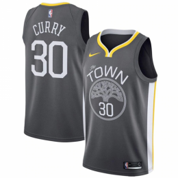 Men's Golden State Warriors Stephen Curry No.30 Black Swingman Jersey Statement Edition