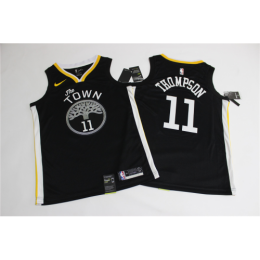 Men's Golden State Warriors Klay Thompson No.11 Black Swingman Jersey Statement Edition