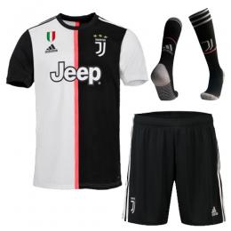 19-20 Juventus Home Black&White Soccer Jerseys Kit(Shirt+Short+Socks)