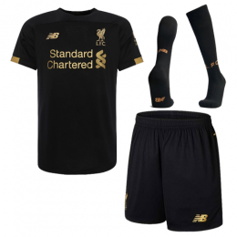 19-20 Liverpool Goalkeeper Black Soccer Jerseys Kit(Shirt+Short+Socks)
