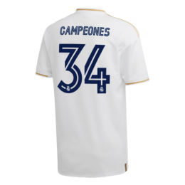 """19/20 Real Madrid Home White  """"CAMPEONES #34"""" Soccer Jerseys Shirt"""