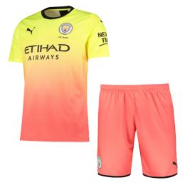 19/20 Manchester City Third Away Yellow&Orange Jerseys Kit(Shirt+Short)