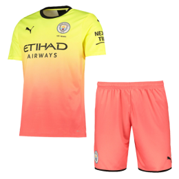 19/20 Manchester City Third Away Yellow&Orange Jerseys Kit(Shirt+Short)