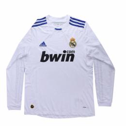 10/11 Real Madrid Home White Long Sleeve Retro Jerseys Shirt