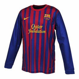 11/12 Barcelona Home Red&Blue Retro Long Sleeve Soccer Jerseys Shirt